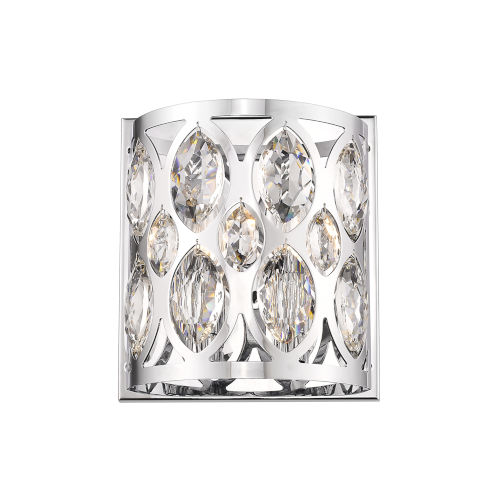 Dealey Chrome Two-Light Wall Sconce With Transparent Crystal