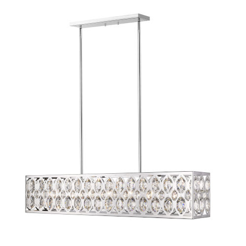 Dealey Chrome Seven-Light Mini Chandeliers With Transparent Crystal