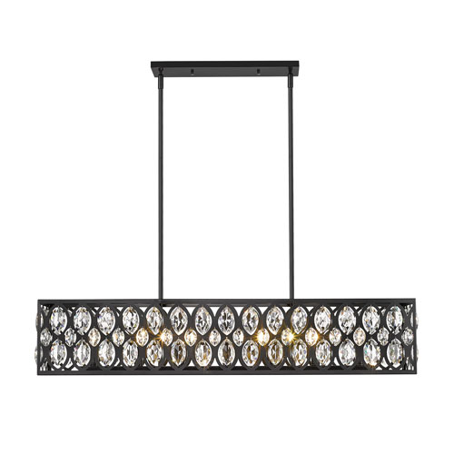 Dealey Matte Black Seven-Light Mini Chandelier