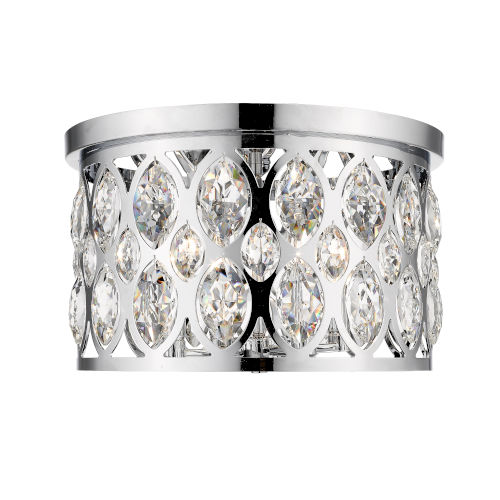 Dealey Chrome Four-Light Flush Mount With Transparent Crystal