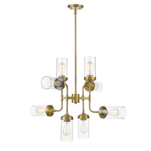 Calliope Foundry Brass Eight-Light Chandelier