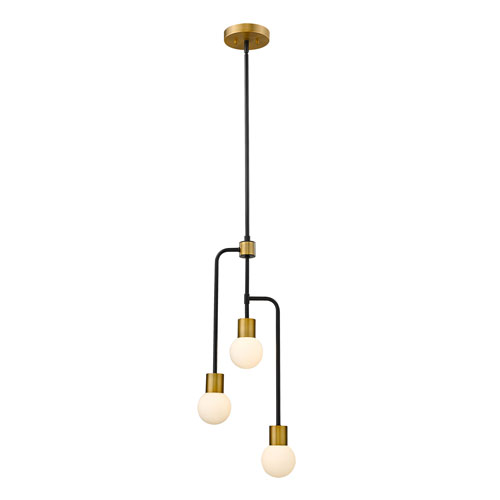 Neutra Matte Black and Foundry Brass Three-Light Chandelier