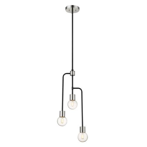 Neutra Matte Black and Polished Nickel Three-Light Chandelier