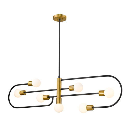 Neutra Matte Black and Foundry Brass Seven-Light Island Chandelier