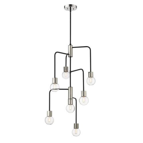Neutra Matte Black and Polished Nickel Seven-Light Chandelier