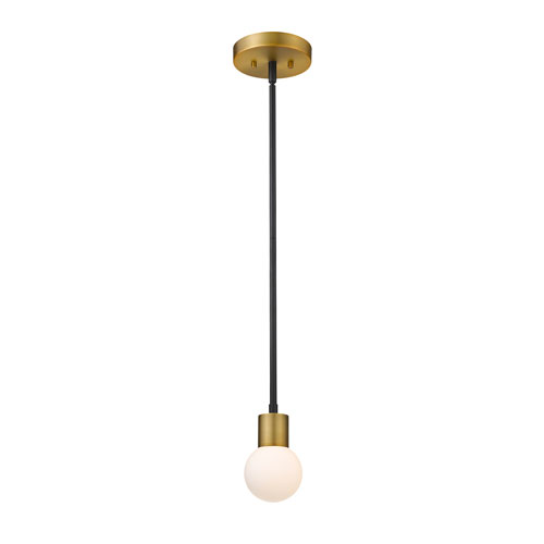 Neutra Matte Black and Foundry Brass One-Light Mini Pendant