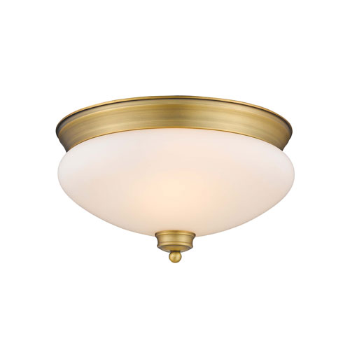 Z-Lite Amon Heritage Brass 13-Inch Two-Light Flush Mount with Matte Opal Glass