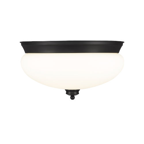 Amon Matte Black Three-Light Flush Mount with Matte Opal Glass