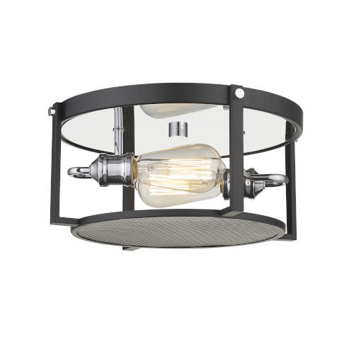 Halycon Matte Black and Chrome Two-Light Flush Mount