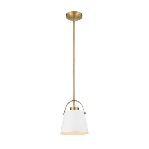 Z-Studio Matte White and Heritage Brass One-Light Mini Pendant