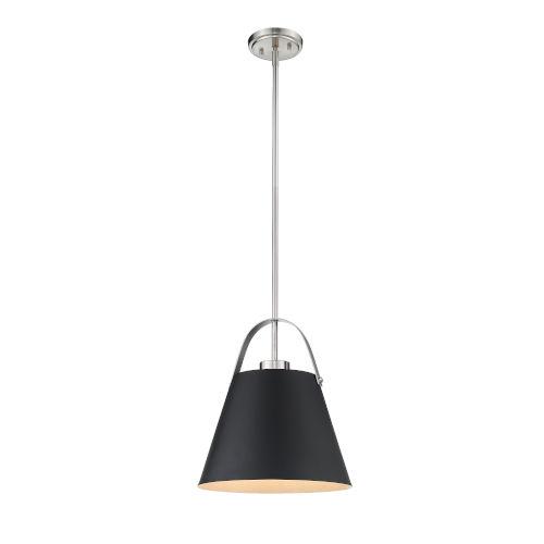 Z-Studio Matte Black and Brushed Nickel One-Light Pendant