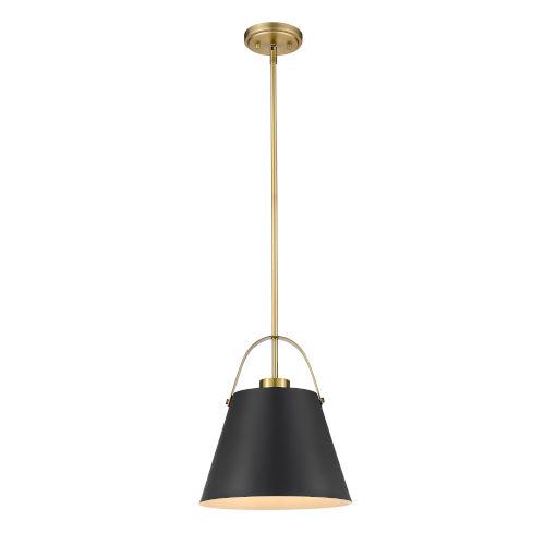 Z-Studio Matte Black and Heritage Brass One-Light Pendant