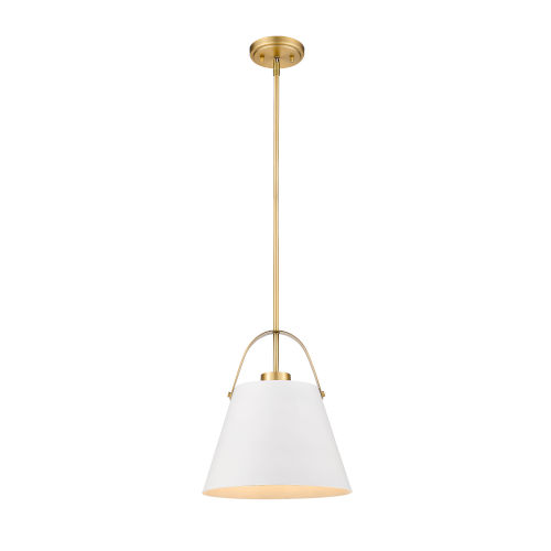 Z-Studio Matte White and Heritage Brass One-Light Pendant