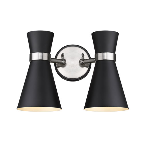 Soriano Matte Black and Brushed Nickel Two-Light Wall Sconce