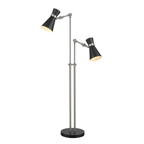 Soriano Matte Black and Brushed Nickel Two-Light Floor Lamp