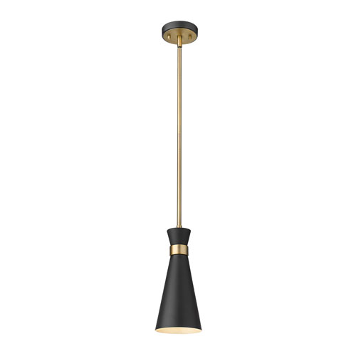 Soriano Matte Black and Heritage Brass One-Light Mini Pendant