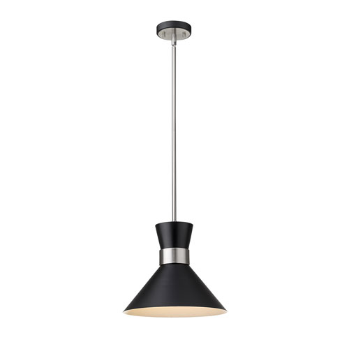 Soriano Matte Black and Brushed Nickel 13-Inch One-Light Pendant