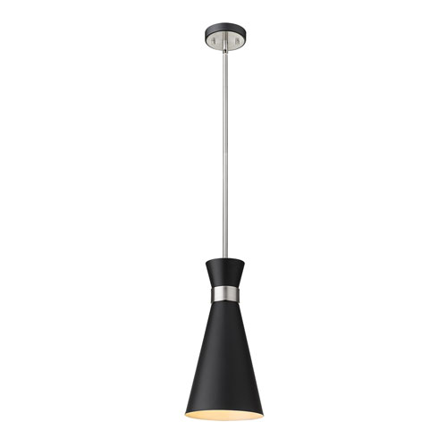 Soriano Matte Black and Brushed Nickel 8-Inch One-Light Pendant