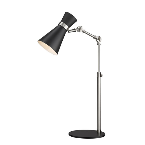 Soriano Matte Black and Brushed Nickel One-Light Table Lamp