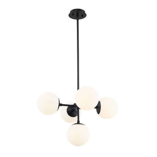 Midnetic Matte Black Five-Light Pendant