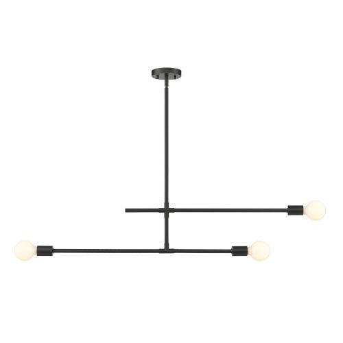 Modernist Matte Black Three-Light Mini Chandelier