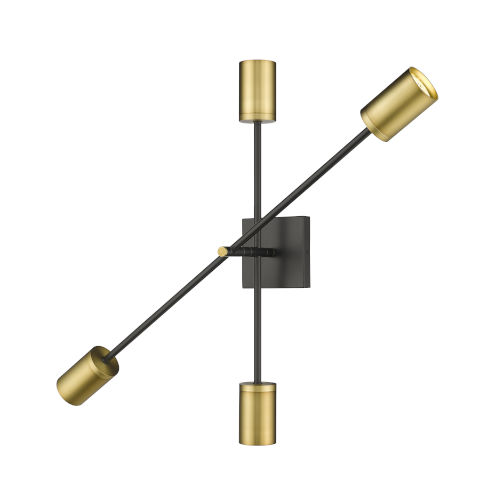 Calumet Matte Black and Olde Brass Two-Light Wall Sconce