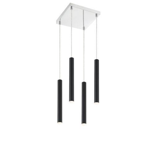 Forest Matte Black LED Four-Light Mini Chandeliers
