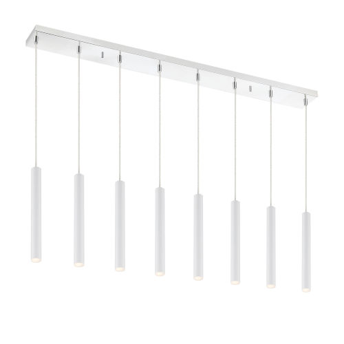 Forest Matte White LED Eight-Light Mini Chandeliers