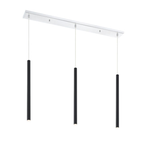 Forest Matte Black LED Three-Light Mini Chandeliers