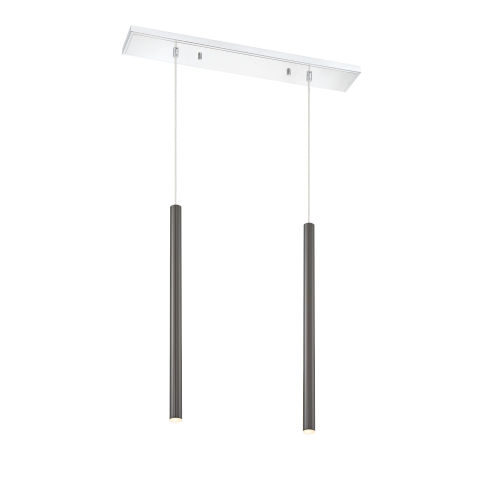 Z-Lite Forest Pearl Black LED Two-Light Mini Chandeliers