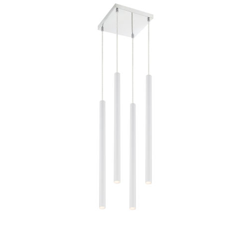 Forest Matte White LED Four-Light Mini Chandeliers
