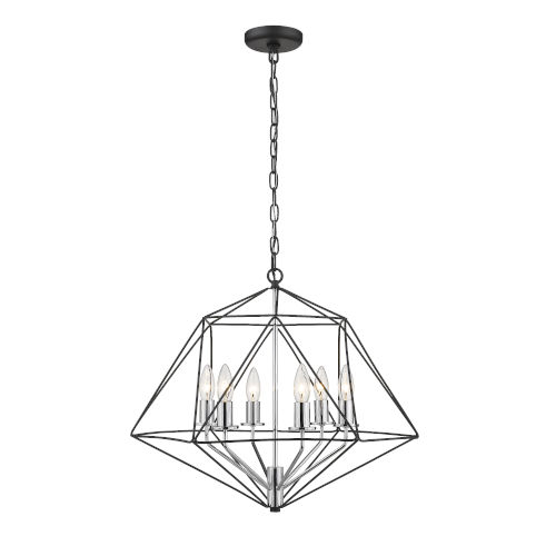 Geo Matte Black and Chrome Six-Light Chandelier