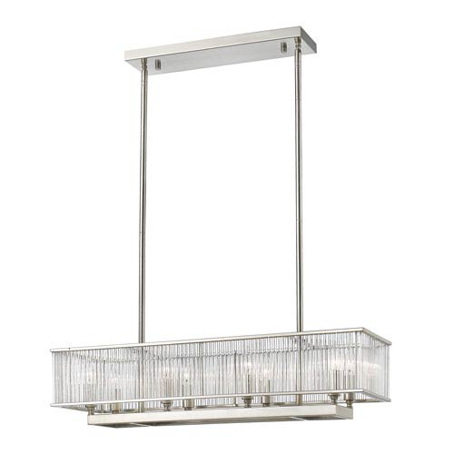 Zalo Brushed Nickel Eight-Light Linear Pendant
