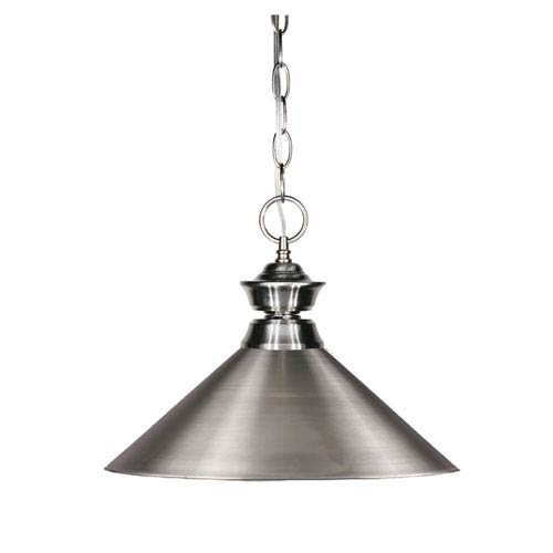 Pendant Lights One-Light Pewter Pendant with Angled Brushed Nickel Metal Shade