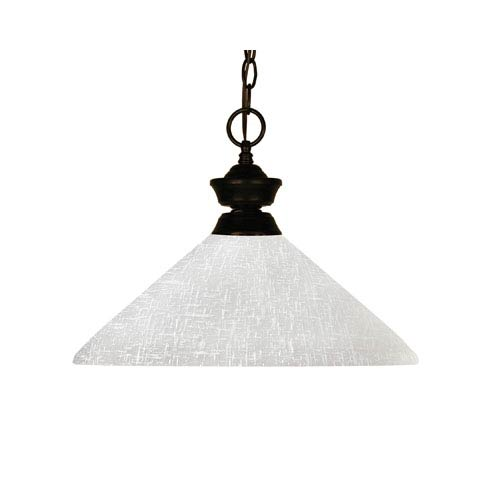 Z-Lite Challenger One-Light Bronze Dome Pendant with Angled White Linen Glass Shade