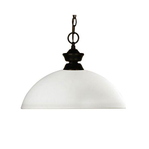 Z-Lite Chance One-Light Bronze Dome Pendant with a Matte Opal Glass Shade