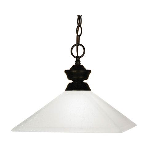 Z-Lite Flatwater One-Light Bronze Dome Pendant with Mission Matte Opal Glass Shade