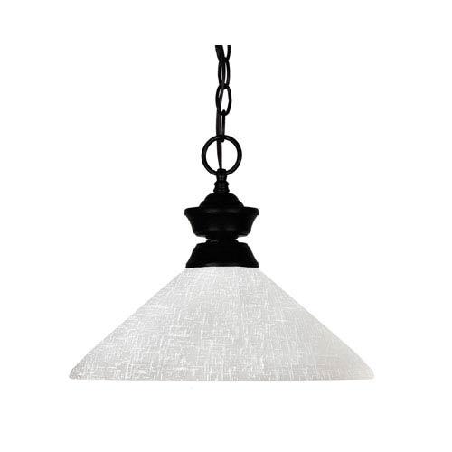 Z-Lite Shark One-Light Matte Black Dome Pendant with Angled White Linen Glass Shade