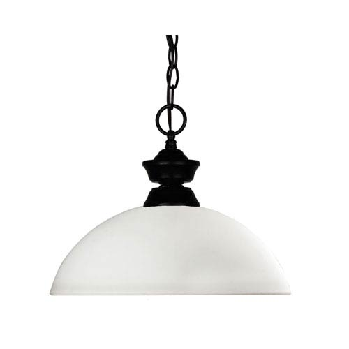 Z-Lite Windsor One-Light Matte Black Dome Pendant with Matte Opal Glass Shade