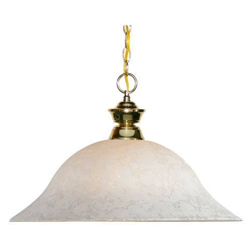 Z-Lite Pendant Lights One-Light Polished Brass Pendant with White Mottle Glass Shade