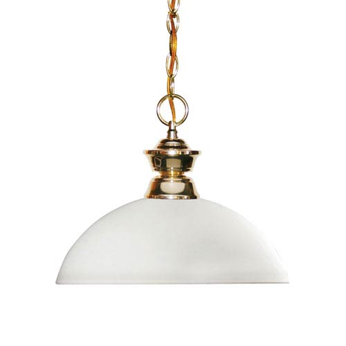 Shark Polished Brass One-Light Pendant with Dome Matte Opal Glass