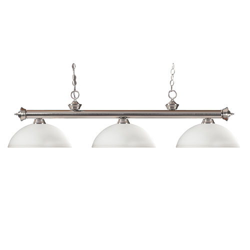 Riviera three-Light Brushed Nickel Island Pendant with Domed Matte Opal Glass Shade