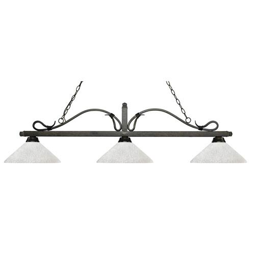 Melrose Golden Bronze Three-Light Pendant with Angle White Linen Glass