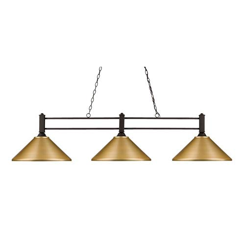 Z-Lite Challenger Bronze Three-Light Island Pendant
