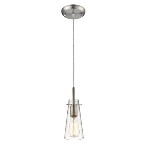 Z-Lite Monte Brushed Nickel One-Light Mini Pendant with Clear Seedy Glass