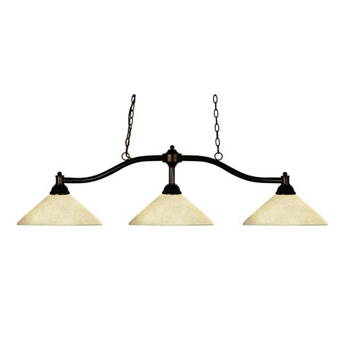 Z-Lite Chance Three-Light Bronze Island Pendant with Angled Golden Mottle Shades