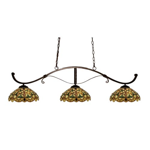 Z-Lite Howler Bronze Three-Light Billiard Light with Multi-Colored Tiffany Shade