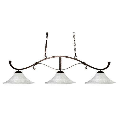 Z-Lite Howler Three-Light Bronze Island Pendant with Fluted White Mottle Glass Shades