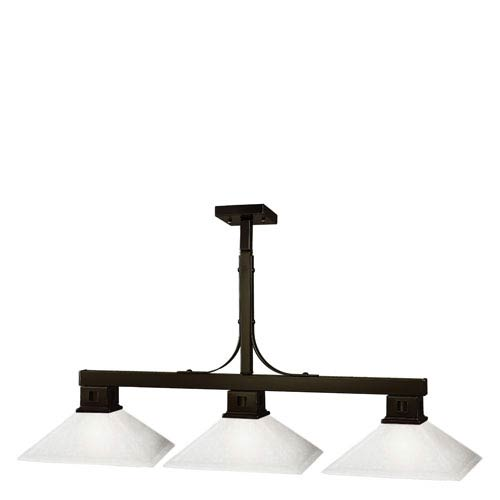 Z-Lite Flatwater Three-Light Bronze Island Pendant with Mission Matte Opal Glass Shades