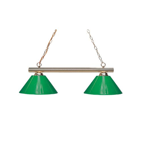 Sharp Shooter Polished Brass Two-Light Billiard Pendant with Green Shades